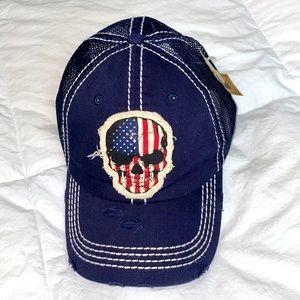 Kbethos Vintage American Flag Skull baseball cap